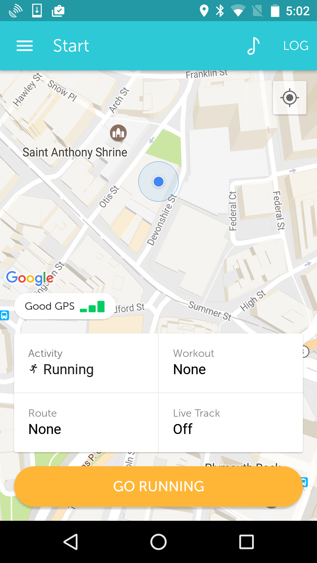 new android tracking screen