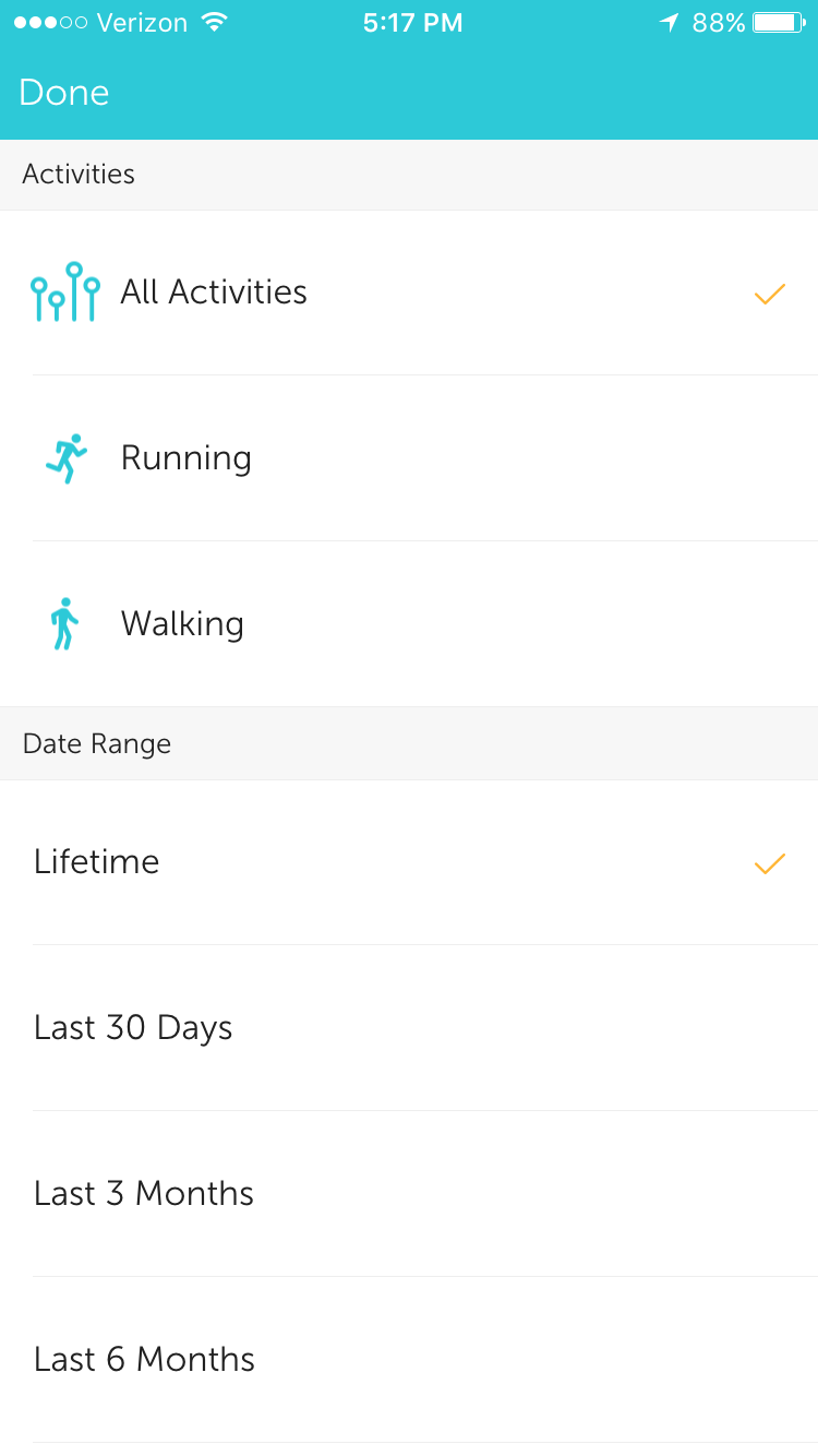 Understanding your me tab runkeeper help center select activities to view all the activities youve accomplished hexwebz Images
